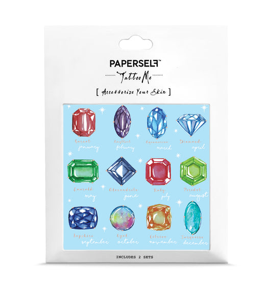 birthstone gemstone temporary tattoo