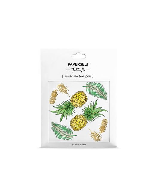 pineapple metallic temporary tattoo for festivals paperself