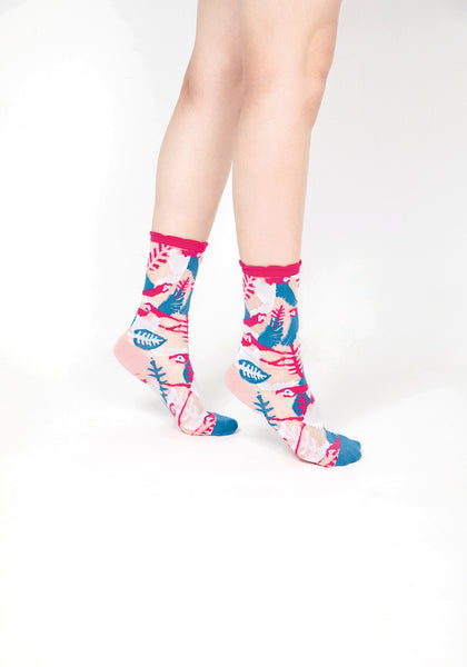 Parrot Sheer Socks – Pink Cuff