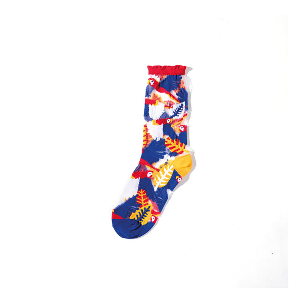 Parrot Sheer Socks – Red Cuff