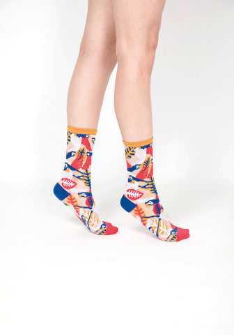 Parrot Sheer Socks – Yellow Cuff