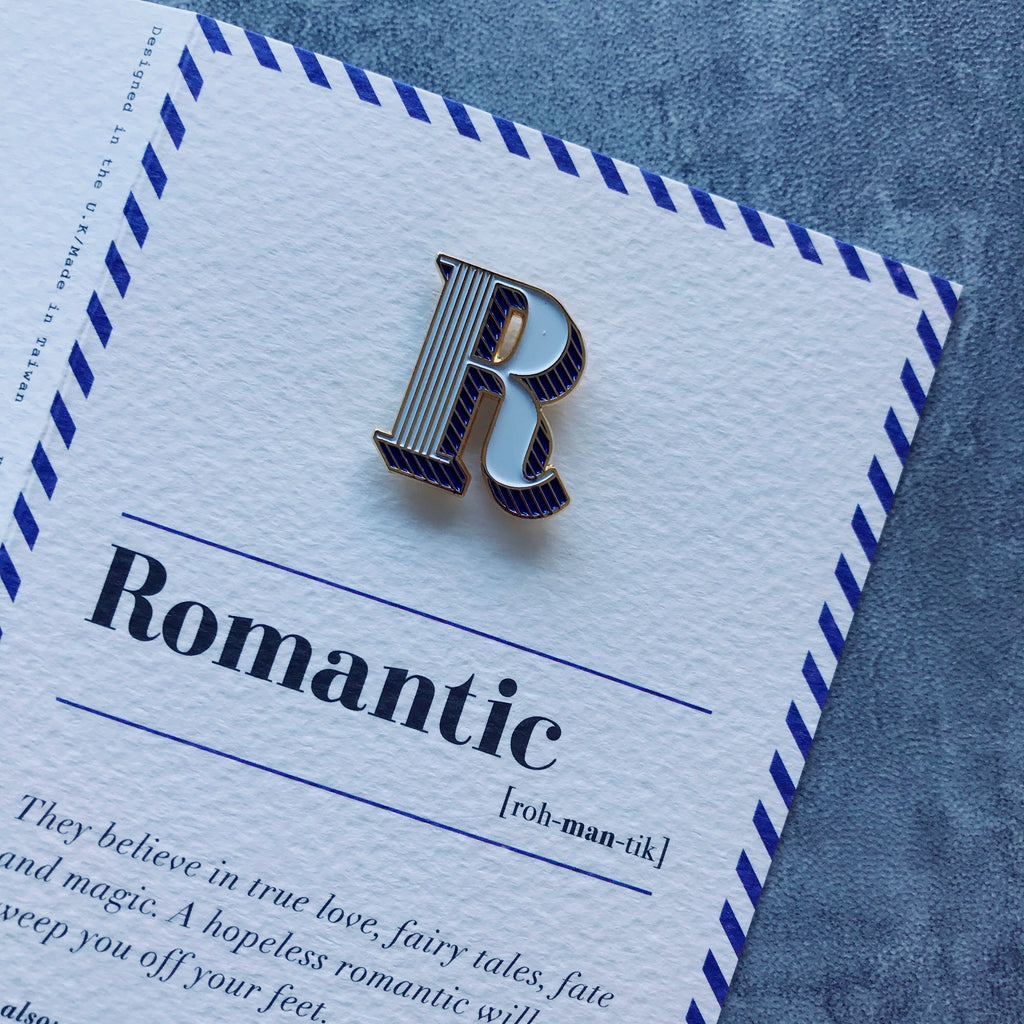 r is for romantic pin badge and card paperself