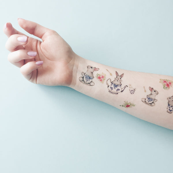 Rabbit Tea Party Temporary tattoo PAPERSELF