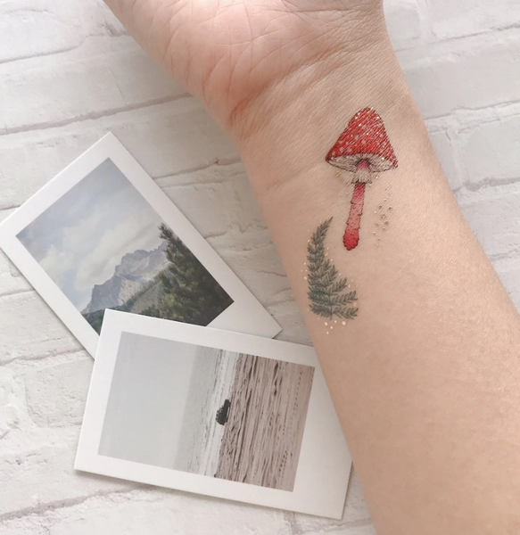 Squirrel & Mushrooms Temporary Tattoo