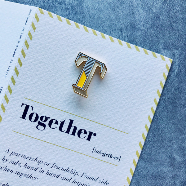 alphabet letter t pin brooch