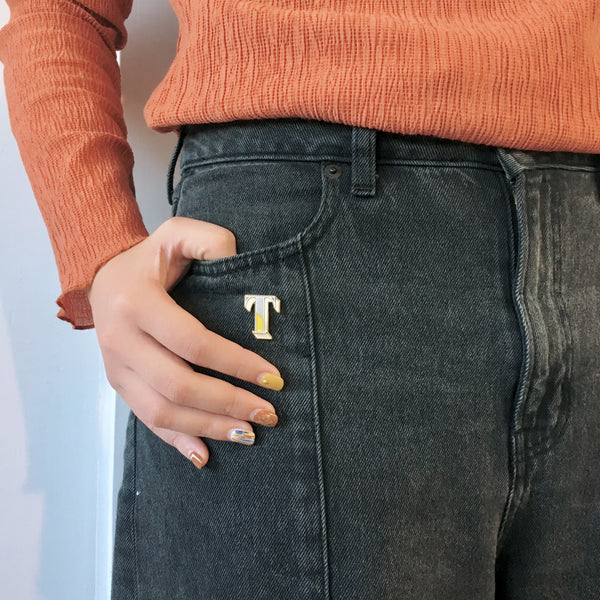 letter t enamel pin badge