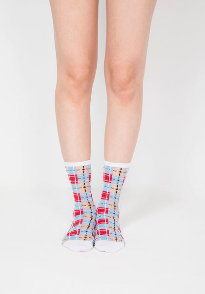 Tartan Sheer Socks - Blue & Red