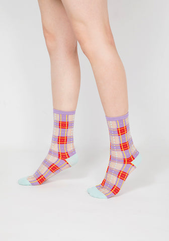 Tartan Sheer Socks - Purple & Red