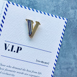 letter v pin with card