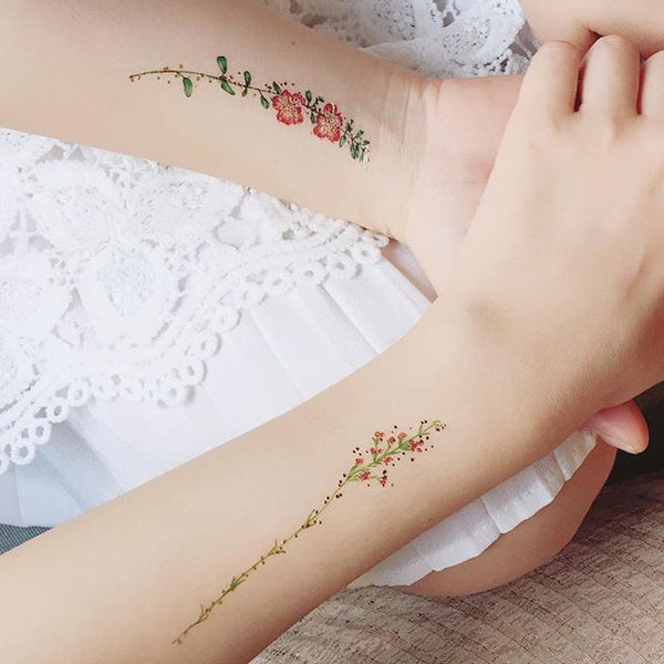 vintage flower temporary tattoo