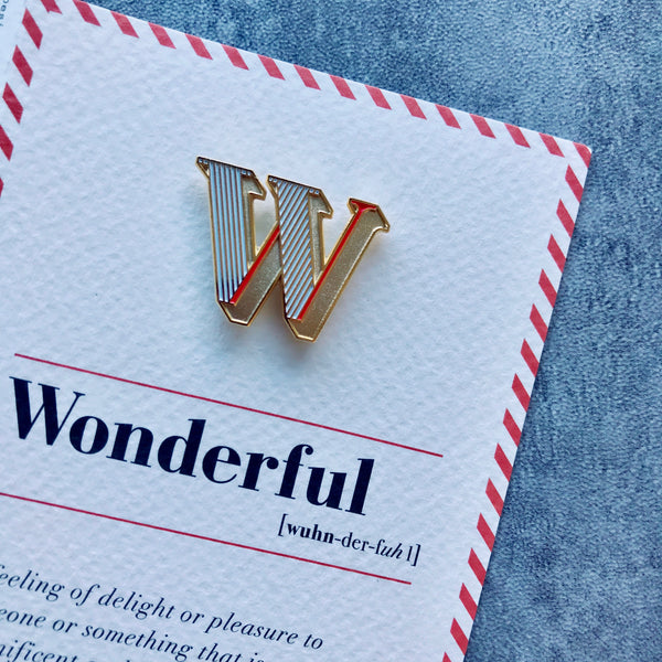 alphabet enamel pin brooch with card