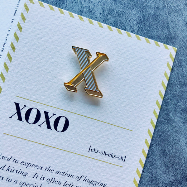 letter x enamel pin badge
