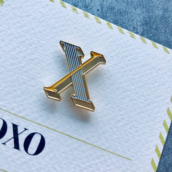 unique enamel pin brooch for alphabet letter X