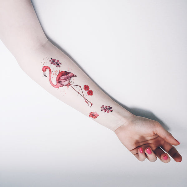 flamingo pink and metallic temporary tattoo paperself