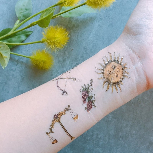 sun mythology temporary tattoo