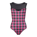 Boatneck Check Print leotard 1902