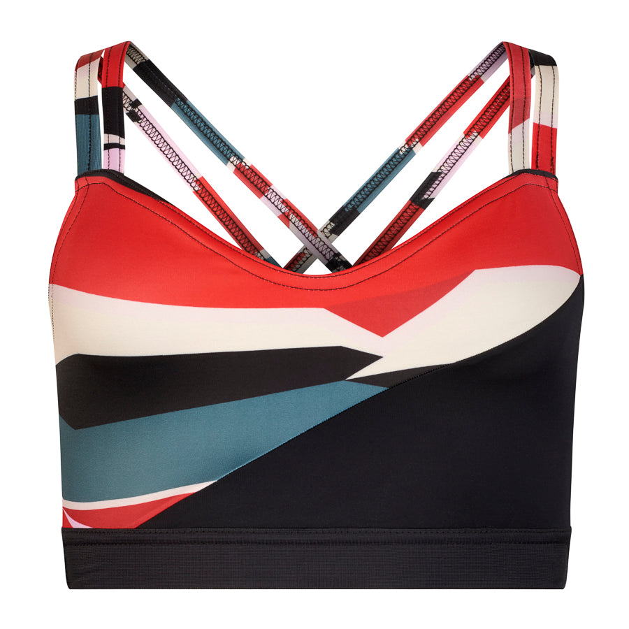 Exclusive print with black red and cream Panels This stylish dance top is really popular - fashionable and supportive!   Double layered front for additional support  Two straps come up over the shoulders and cross on the back  Snug midriff band keeps the top in place   Made with sustainable and regenerated planet friendly fabrics 💕