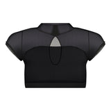 Turtleneck Mesh Crop Top Black