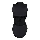 Black Zip Front Leotard 1002