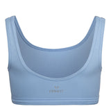 Minimal Bounce Bra in powder blue colour double layered compression fabric using a unique blend of Cotton/Poly/Lycra for a soft and luxurious feel  Designed for even pressure distribution with smooth reversed seams which dramatically increase comfort 