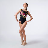 Velour Back Floral Print Leotard