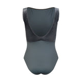 Velour Back Boatneck Leotard Grey