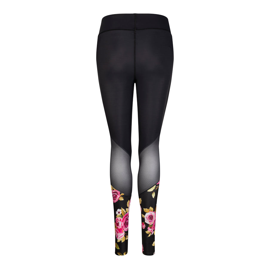 Angled Mesh Leggings Rose Print