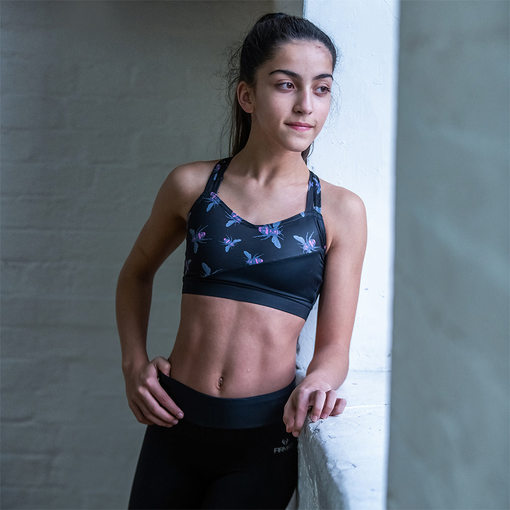RHEA Dance Fitness Bra - Bee Print