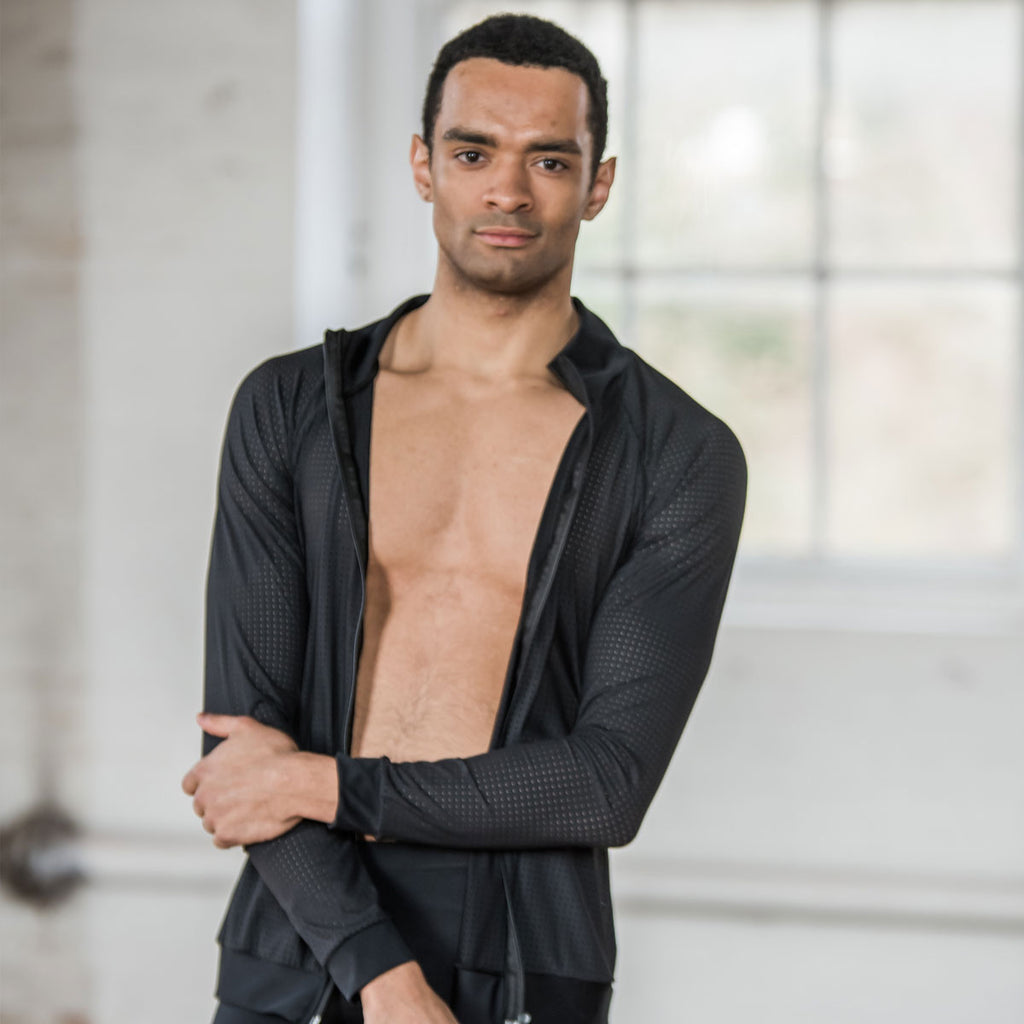 Black zipper front jacket designed by Brandon Lawrence Birmingham Royal Ballet with regenerated fabrics