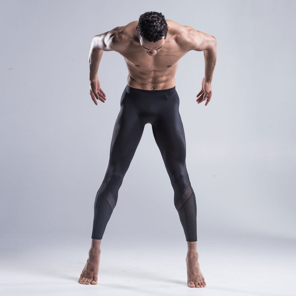 Brandon Lawrence mens collection wearing  Black leggings in sustainable fabric
