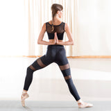 dance top and Mesh Leggings Black in yoga pose