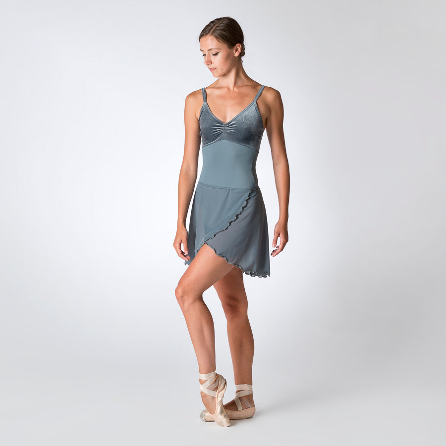 Velour Top Camisole Leotard Grey