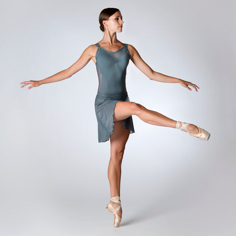 Grey Layered Mesh Leotard 906G