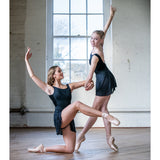 2 dancers in Elegant V Back Skirted Leotard