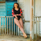 Mesh Sleeve Leotard - 1901 - Geo In beach hut