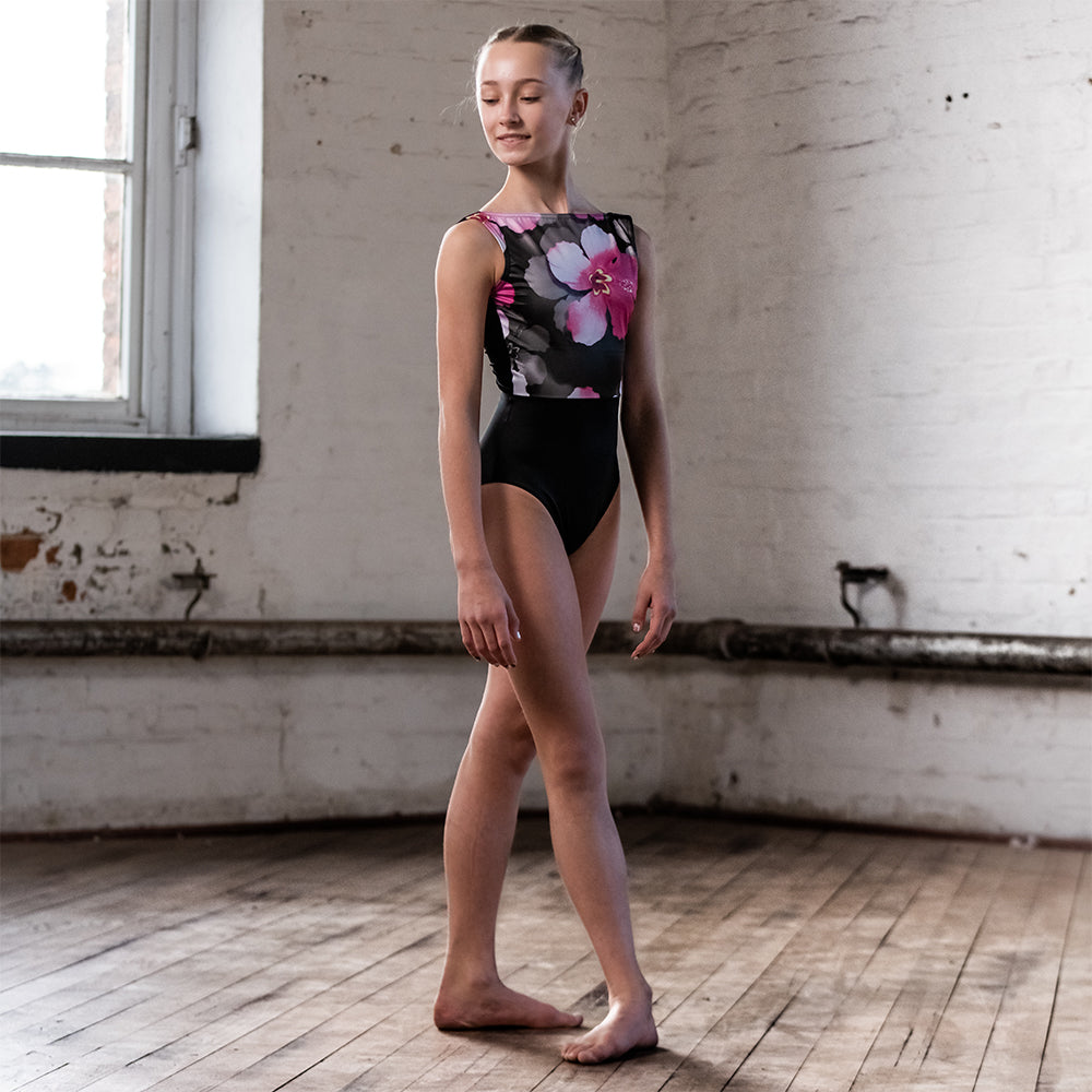 Velour Back Cloud Print Leotard