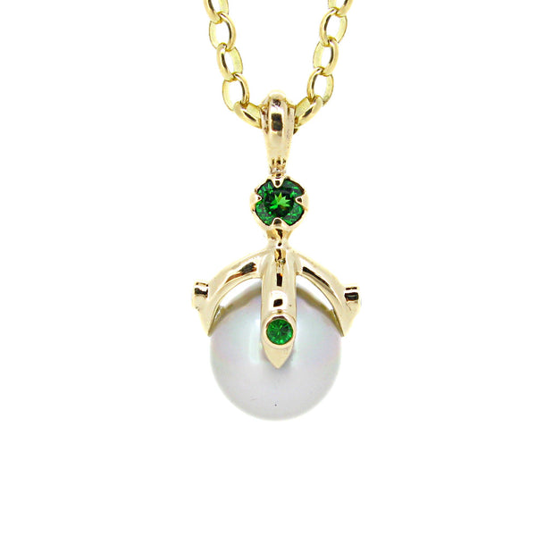 Queen Orb Pendant with silver white pearl and tsavorite garnet, 9ct