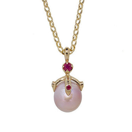Queen Orb Pendant/pink freshwater pearl, ruby