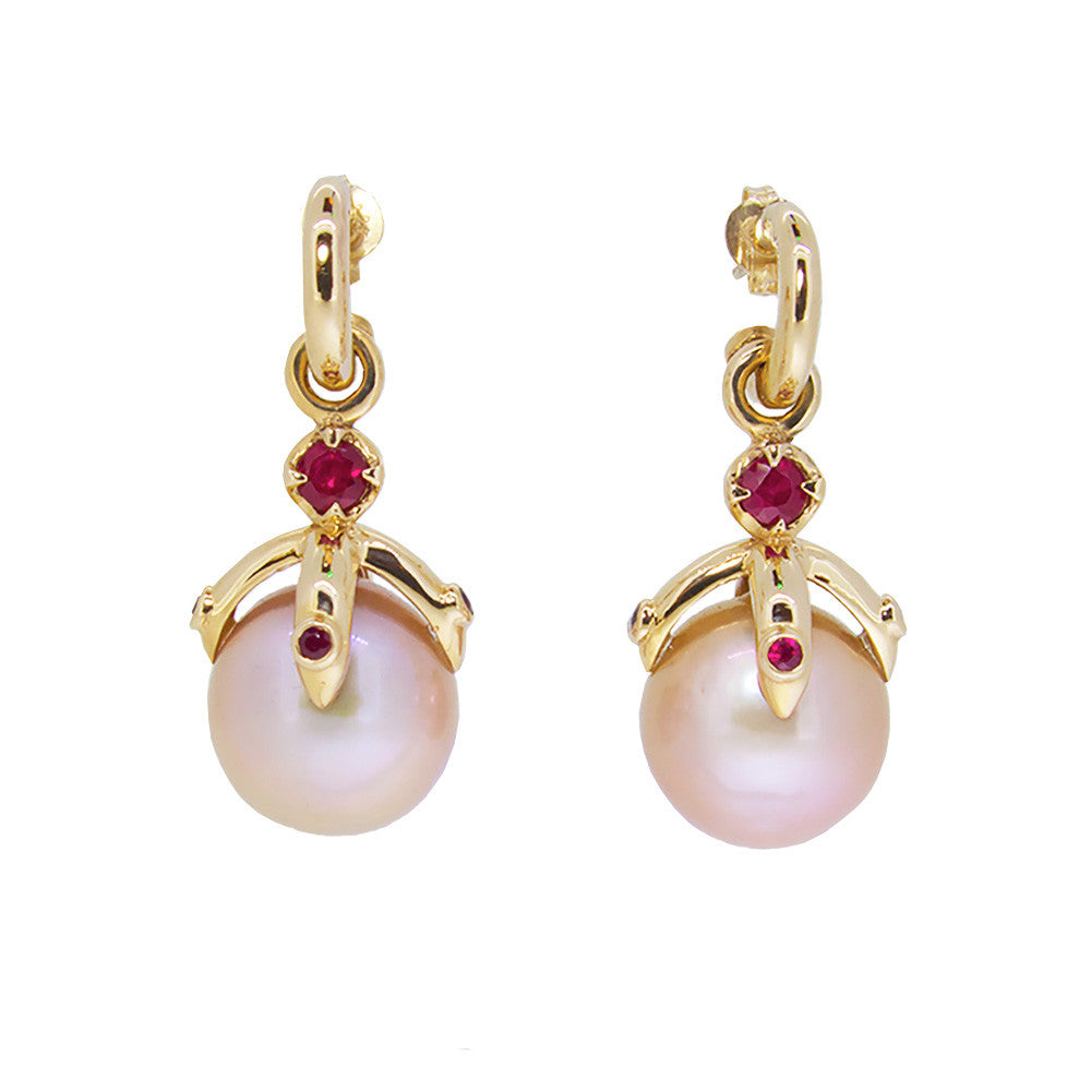 Orb Earring Drop pair/pink freshwater pearls, ruby, 9ct