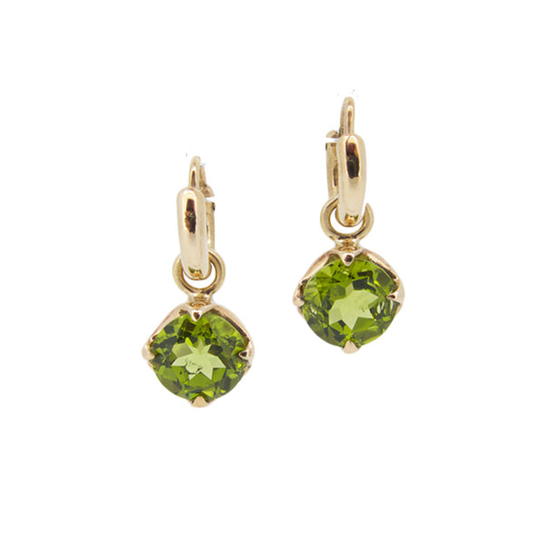 Stone Claw Drops with facetted peridot, 9ct, Pair