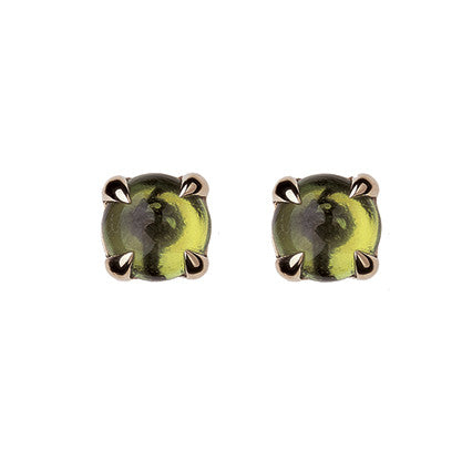 Claw Stone Stud with cabachon peridot/pair