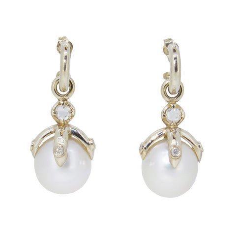 Orb Earring Drop pair, 9ct white gold/white south sea pearls, diamonds