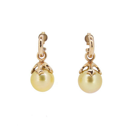 Majesty pearl drops with gold South Sea pearls