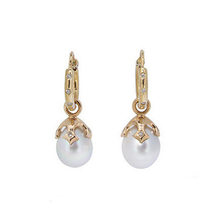 Majesty pearl drop pair, 9ct/White South Sea pearls and diamonds on Heather Hoops with Diamonds