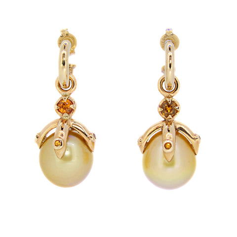 Orb Earrings with gold South Sea pearls, sapphires and spessatite garnet