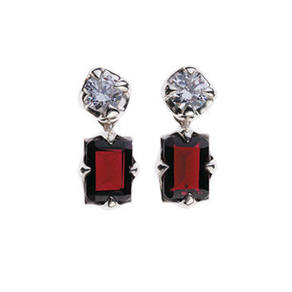 Edwardian Stud Earrings/diamond, ruby
