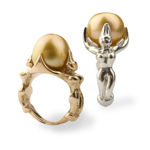 Goddess Ring/gold pearl