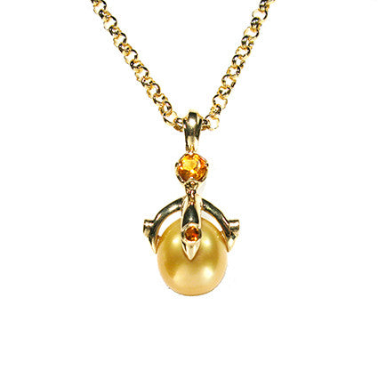 Queen Orb Pendant/gold South Sea pearl, Sapphire