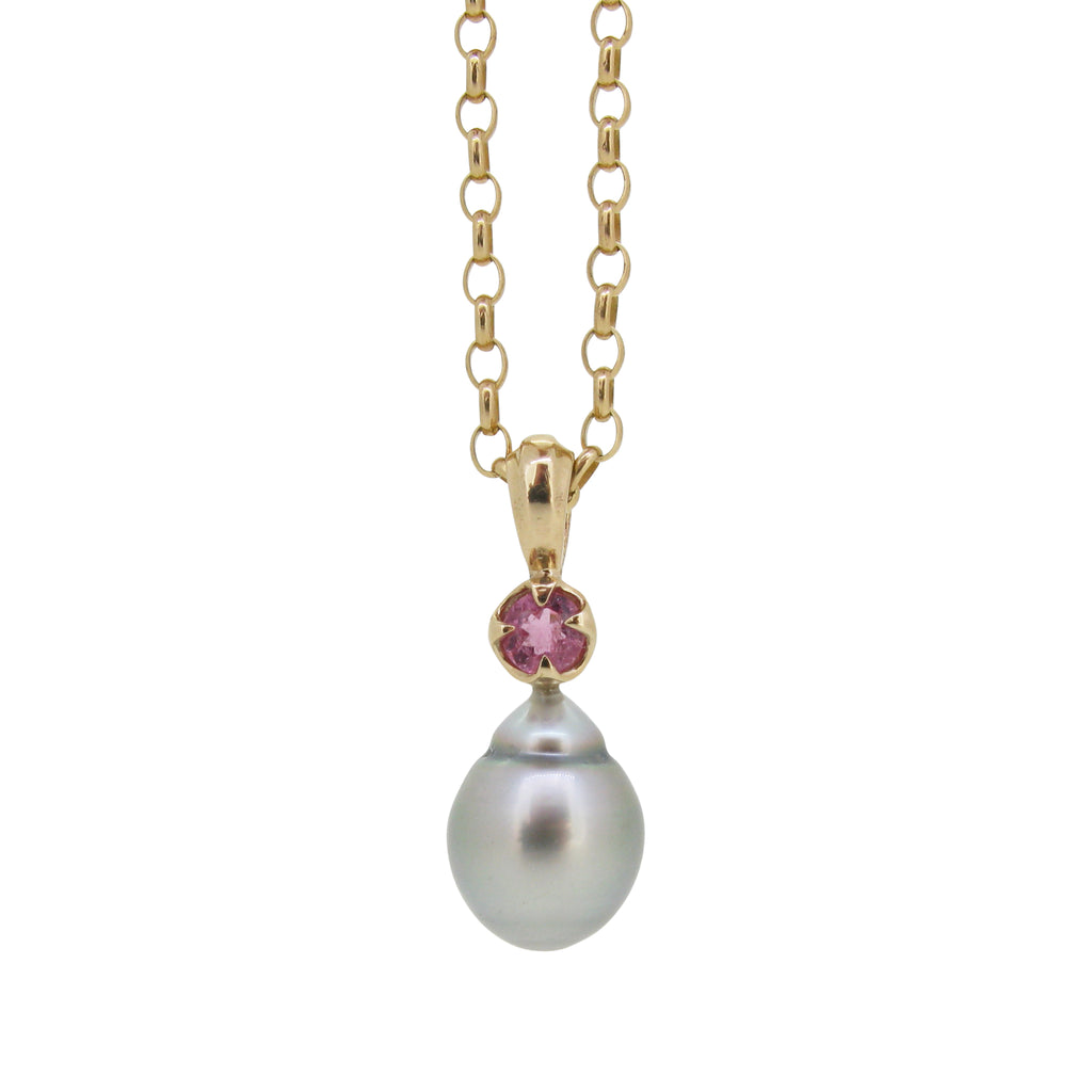 Obelia Pendant, 9ct with silver Tahitian pearl and pink tourmaline