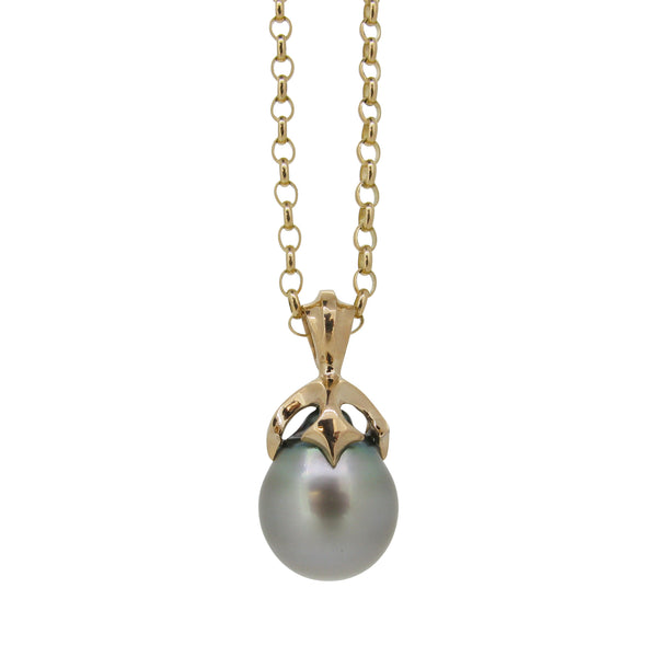 Large Majesty pendant, 9ct, set with silver Tahitian pearl